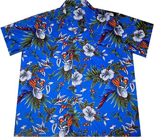 """Hawaiihemd / Hawaiishirt """"Hawaiian Parrots (blue)"""", 100% Polyester, Größe M – 2XL"""