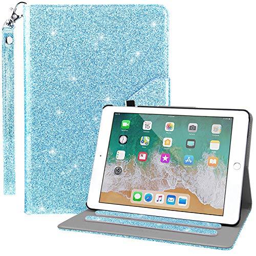 Dailylux iPad 9.7 2017/2018 Hülle,Multi-Winkel Betrachtung Standplatz Cover Ledertasche mit Handschlaufe Cover für Apple iPad 9,7 Zoll 2017/2018 (A1822/A1823/A1893/A1954)-Blau