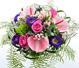 Blumenversand - Blumenstrauß - zum Geburtstag - Mother´s Love - Anthurien in zarten rosa - mit Gratis - Grußkarte zum Wunschtermin versenden