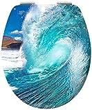 Cornat WC-Sitz 3D Chrom WAVE/Toilettensitz / Toilettendeckel/Klodeckel / WC-Deckel/Absenkautomatik / Holzkern (MDF) / KSDSC411