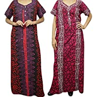 Mogul Interior 2 pc Women Cotton Caftan Dress Bohemian Printed Long Night Wear Gown XL