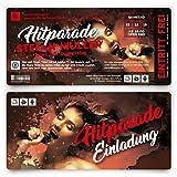 10 x Geburtstag Einladungskarten Einladung Ticket Eintrittskarte - Hitparade Popmusik
