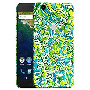 Theskinmantra Green Floral Print back cover for Nexus 6P