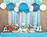 SUNBEAUTY 13er Set Blau Deko Serie Papier Lampion Pompom Fächer Babyshower Geburtstag Zeremonie Deko