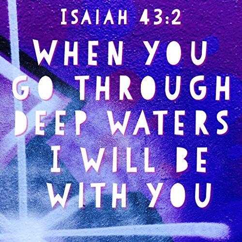 BIBLE QUOTES BELFAST Bibelvers Bibelvers When You go Through Deep Water I Will be with You, 43:2 Gott Jesus Christus Wandkunst Geschenk