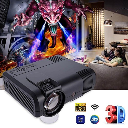 BJESSENCE 1 SET Schwarz L8 Neue 1080 P HD Micro Mini Projektor Smartphone WIFI Tasche Cinema Projektor Heimkino Smart Audio System WiFi / (Kein WiFi) Optional FÜR Smart Home (With/WIFI)