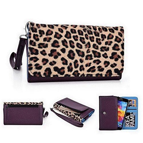 Kroo Pochette Téléphone universel Femme Portefeuille en cuir PU avec sangle poignet pour Allview x1Soul/V1Viper S Violet - violet Multicolore - Violet/motif léopard