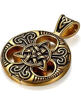 JewelryWe Schmuck Herren Halskette, Edelstahl Irish Celtic Knot Irischen Keltisch Knoten Triquetra Anhänger mit...