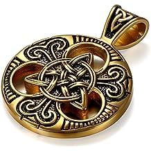 JewelryWe Collar con Colgante Nudo Celta Retro Colgante Amuleto Moneda Acero Inoxidable Dorado, Collar de Hombre Original Regalo de Navidad