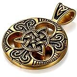 JewelryWe Schmuck Herren Halskette, Edelstahl Irish Celtic Knot Irischen Keltisch Knoten Triquetra Anhänger mit 60cm Quadrat Link Kette, Schwarz Gold