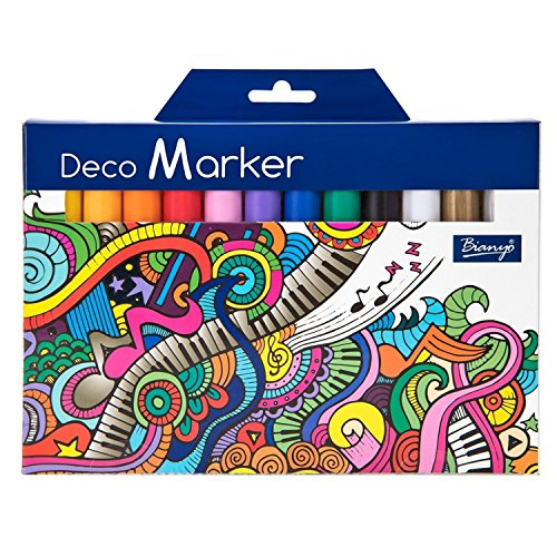 Bianyo Acrylic Paint Deco Marker Pens Fine Tip Art Liquid Highlighters Set of 12 Colours