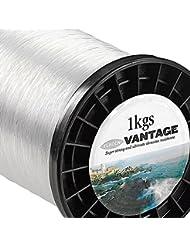 Fladen Vantage Pro (1kg) Bobinas de sedal para pesca marítima de monofilamento extrafuerte (transparente), viene en 6, 9, 10, 15, 25, 36 y 45kg aprox., 55lbs - 2165m - 0.70mm