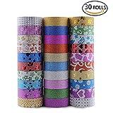 Aolvo Multi Farbige Masking Tape, 30Rollen, Deko-Klebeband, zum Basteln und Geschenkverpackungen mit Blumen Muster