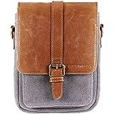 Heritage Binocular Shoulder Case Bag Grey/Tan Canvas & PU Leather