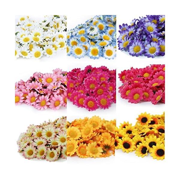 TININNA 100 Pcs Mini Elegantes Flores Artificiales,Flores De La Margarita De Gerbera Artificial Cabezas de Papel Hechas…