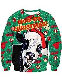 Loveternal Unisex Christmas Pullover 3D Imprim Xmas Jumper Manches Longues Crew Neck Sweatshirt S-XXL