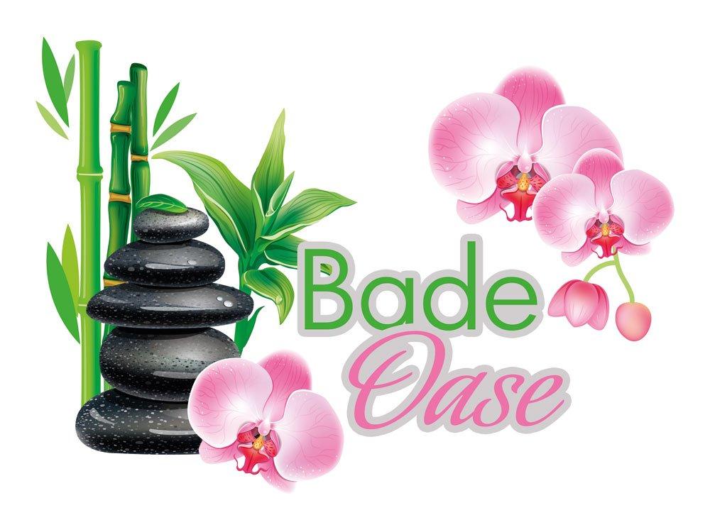 Wandsticker Sticker Aufkleber Für Badezimmer Spruch Bade Oase Orchideen  Steine (79x57cm): Amazon.de: Küche U0026 Haushalt