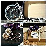 Diente de león de plata Medallón y Pendientes - Plata de ley 925 Cadena Joyería a juego set de regalo formal cóctel nupcial recuerdo Joyas de regalo con Caja de regalo