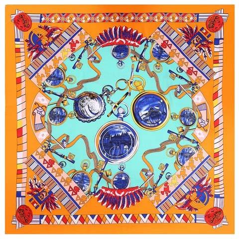 QYYDWJ Foulard in Seta Sciarpe quadrate Donna Avvolge Orologio Stampa Fazzoletto da Collo Donna Macchia Seta110 CM * 110 CM Arancione