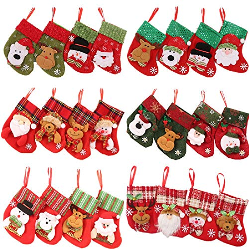 Snsunny 24 Unidades Mini Calcetines Navidad Bolsa