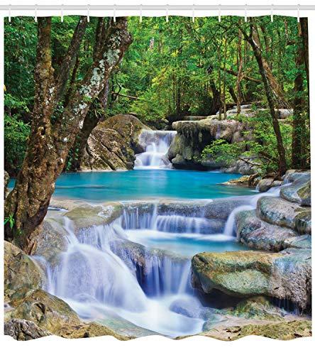 ABAKUHAUS Natur Duschvorhang, Felsen im Wasserfall See, mit 12 Ringe Set Wasserdicht Stielvoll Modern Farbfest und Schimmel Resistent, 175x220 cm, Braun Grün und Blau