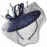 Lierys Dianina Fascinator Haarschmuck Anlasshut Damenhut Haarreif für Damen Kinder Hochzeitshut Sommer Winter (One Size - dunkelblau)