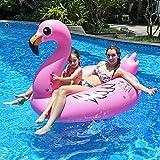 Aufblasbarer Flamingo, Innoo Tech Luftmatratze Wasser, 0.3 mm dick hochwertig PVC schwimminsel, 170x110x115cm XXL Groß mit 5 Reperaturflicken, Schwimmtier für 1 Erwachsen und 1 Kind, ideal für Poolparty und Strand
