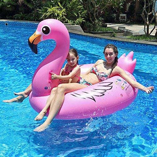 Innoo Tech Aufblasbarer Flamingo, Luftmatratze Wasser, 0.3 mm dick hochwertig PVC schwimminsel, 170x110x115cm XXL Groß mit 5 Reperaturflicken, Schwimmtier für 1 Erwachsen und 1 Kind, Poolparty