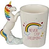 Mug avec poignée figurine licorne, Never stop dreaming, ca. 11 x 9 cm, en faïence