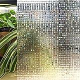 Resuable Decoration Window Film,3D Mosaic Pattern,No Adhesives Vacuum Adsorption,Anti-UV,Privacy Glass Decoration Film 23.6'x78.7'