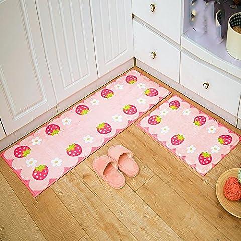 La cuisine tapis de pieds de long dans la porte à l'entrée pour les ménages pour amortir la porte de chambre à coucher salle de bains Skidproof tapis ,40*60 + 50*80, l'absorption de fraises