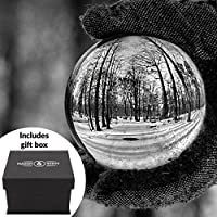 Clear Crystal Ball | 80mm K9 Glass Lens Photo Sphere | Includes Free Gift Box & Stand | For Photography, Decoration, Meditation | Ideal Gift Idea | M&W