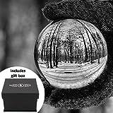 Maison & White Sfera di cristallo | Sfera foto con lente in vetro K9 da 80mm | Include scatola regalo e stand gratuiti Per fotografia, decorazione, meditazione | Idea regalo ideale