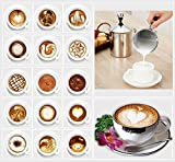 H-Min 500ML Stainless Steel Double Mesh Milk Frother, with Coffee Art Pen as Free Gift