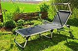 Campingbett, stabile Gartenliege mit Sonnendach, klappbare Sonnenliege - extrem wetterfest, tragbar,...