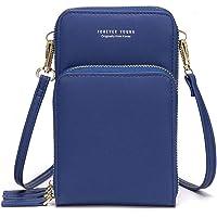 Femmes petit téléphone portable bandoulière sac à main portefeuille Mini cuir léger Cross Body Body Sac de téléphone portable avec fentes pour cartes de sangle(bleu)