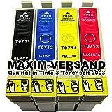 4x Reinigungspatronen Set (KEIN Original) für alle Drucker die Patronen des Typs Epson T0711, T0712, T0713, T0714 benötigen - Kompatibel zu Epson Stylus D78 D92 D120 DX4000 DX4050 DX4400 DX4450 DX5000 DX5050 DX5500 DX5550 DX6000 DX6050 DX7000F DX7400 DX7450 DX8400 DX8450 DX9200 DX9400F SX100 SX105 SX110 SX115 SX200 SX205 SX210 SX215 SX218 SX400 SX405 SX410 SX415 SX417 SX510W SX515W SX600FW SX610FW S20 S21 Office B40W BX300F BX310FN BX510W BX600FW BX610FW