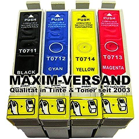 4x Cartouches de nettoyage Set (non original) pour toutes les cartouches de type Imprimante Epson T0711, T0712, T0713, T0714besoin–Compatible à Epson Stylus D78D92D120DX4000DX4050DX4400DX4450DX5000DX5050DX5500dx5550DX6000DX6050DX7000F DX7400DX7450DX8400DX8450dx9200DX9400F SX100SX105SX110SX115SX200SX205SX210SX215SX218SX400SX405SX410SX415SX417SX510W SX515W SX600FW SX610FW S20S21Office B40W BX300F BX310FN bx510W BX600FW BX610FW
