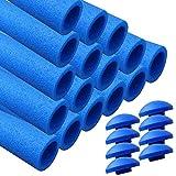 awm® Trampolin Schaumstoffpolster blau, Schaumstoff Schaumstoffrohre inkl. Kappen Stangenschutz- Set (16x 840mm)