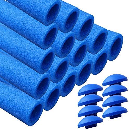 AWM Trampolin Schaumstoffpolster blau, Schaumstoff Schaumstoffrohre inkl. Kappen Stangenschutz- Set (16x 940mm)