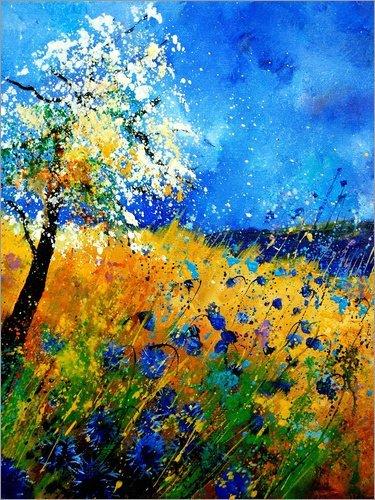 Holzbild 120 x 160 cm: Blaue Kornblumen von Pol Ledent
