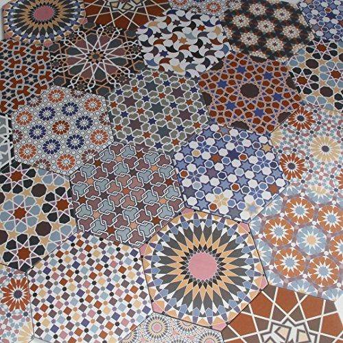 Marokkanische Keramikfliesen orientalisch Patchwork Fliesen Chakib 32,8 x 28,5 cm sechseckig bunt Feinsteinzeug | Schöne Dekoration für Bad Flur Küche & Küchenrückwand (Bunte Bodenfliesen)