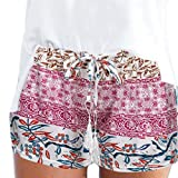 MOIKA Damen Hot Pants Sommer Shorts Hohe Taille Kurze Hosen Casual Hose Freizeithose Hosenrock Leichte in Viele Muster (M,Lila)