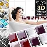 7 Stück 25,3 x 3,7 cm rot beige silber Fliesenaufkleber Design 19 I 3D Mosaik Fliesenfolie Küche Bad Aufkleber Grandora W5423