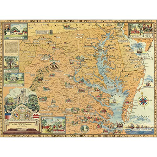 Clegg 1932 Pictorial Map USA Washington Events Extra Large Art Print Wall Mural Poster Premium XL Karte Vereinigte Staaten von Amerika Große Kunst Wand (Staaten-map-kunst Vereinigte)