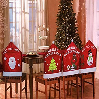 Set Of 4 Mixed Assorted Christmas Theme Chair Hat Back Covers Xmas Party Dinner Dining Table Festive Decoration Gift - cheap UK light shop.
