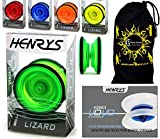 Henrys LIZARD Pro Yo-Yos, Beginners YoYo's With Yo Yo String, Book Of Tricks & Travel Bag! (Green)