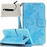 TOCASO Tasche für Galaxy A3 2016 Hülle Glitter PU Schutzhülle für Samsung Galaxy A3 2016 Flip Wallet Case Handyhülle Card Slots Lederhülle für Samsung Galaxy A3 2016 A310 - Blau