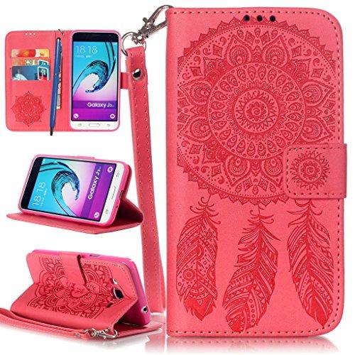 CareyNoce iPhone 6S/6 Plus Coque,Plume Campanula Papillon Fleur Retro Painted Embossed Pattern Conception Flip Housse Etui Cuir PU Coque pour Apple iPhone 6S Plus iPhone 6 Plus (5.5 pouces) -- Rouge C T24