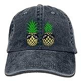 Unisex Aloha Beaches Pineapple Cotton Denim Baseball Cap Adjustable Cricket Cap for Men Or Women